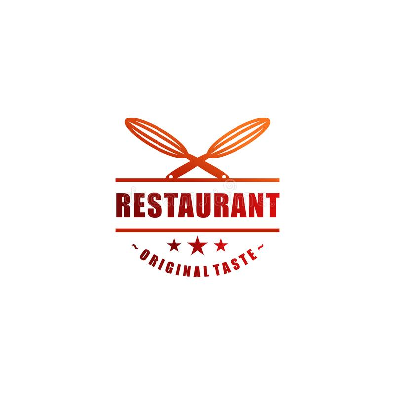 Comida y símbolo del logotipo o del restaurante de la bebida para el café y cualquier negocio stock de ilustración