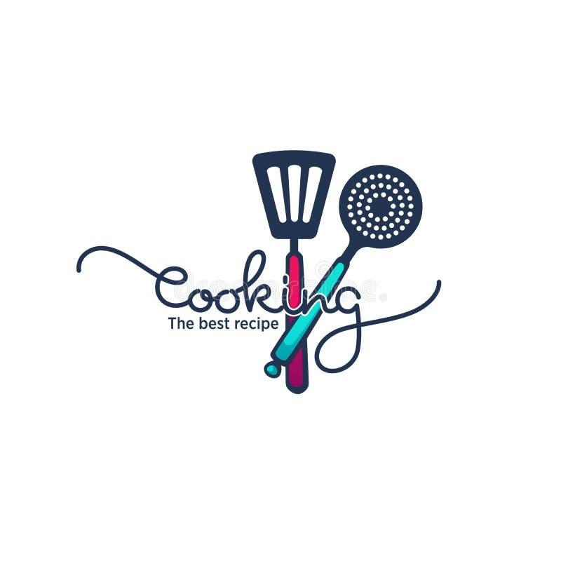 Comida y symb logotipo de cocinar divertido y brillante el cocinar, el emblema y ilustración del vector