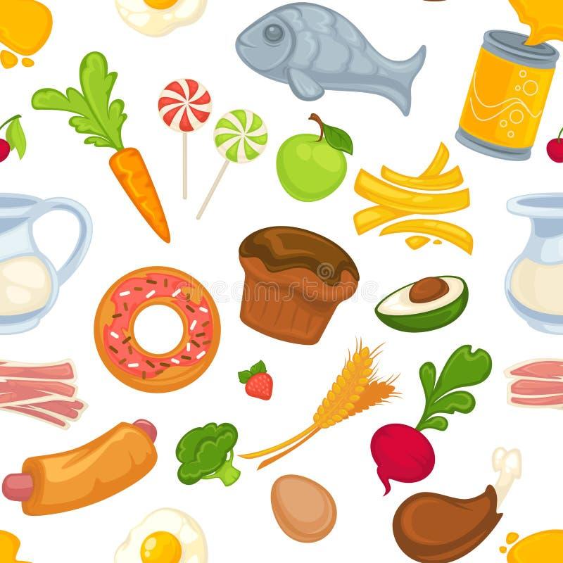 Comida y tocino de las tortas, del bollo y de la carne, comida stock de ilustración