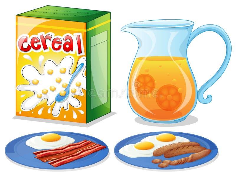 Comidas de desayuno ilustración del vector