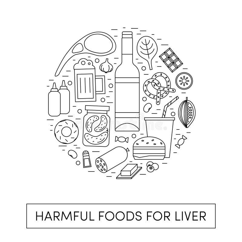 Comidas de Harmul para un hígado ilustración del vector