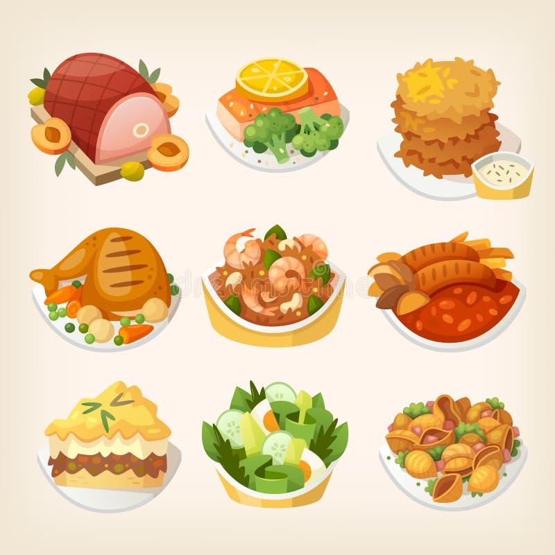Comidas De La Cena De La Familia Ilustración Del Vector Ilustración De Carne Risotto 87661603