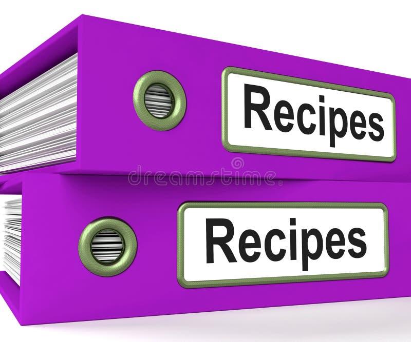 Comidas de los medios de las carpetas de las recetas e instrucciones de cocción ilustración del vector