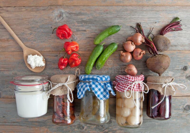 Comidas fermentadas sanas imagen de archivo