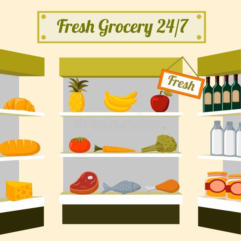 Comidas frescas del ultramarinos en estantes de una tienda stock de ilustración