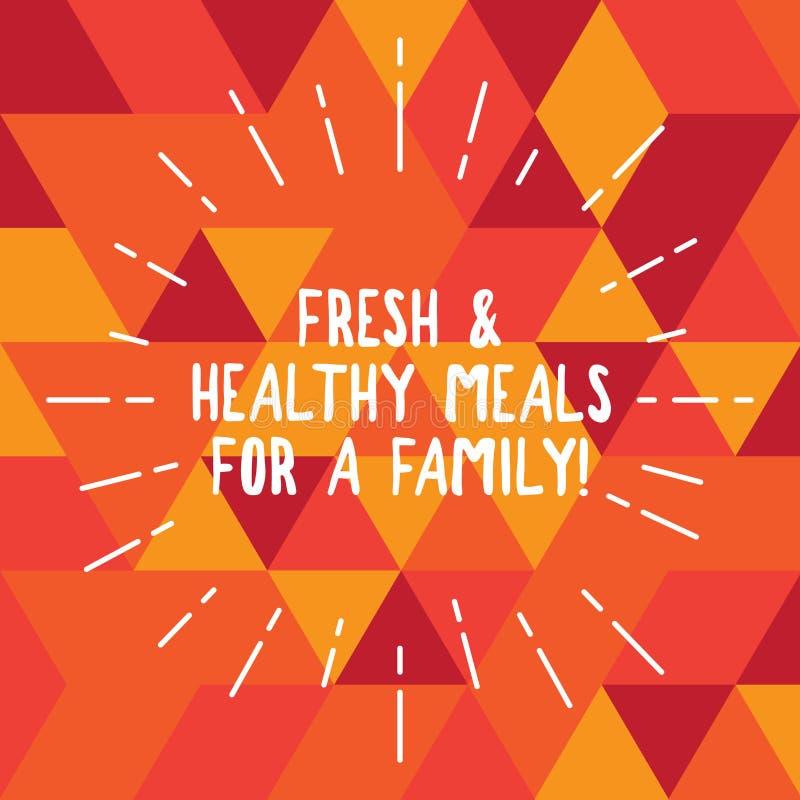 Comidas frescas y sanas del texto de la escritura de la palabra para una familia Concepto del negocio para la buena nutrición que stock de ilustración