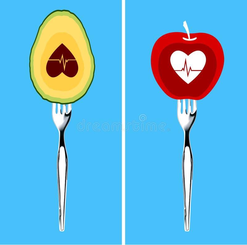 Comidas para el corazón sano ilustración del vector
