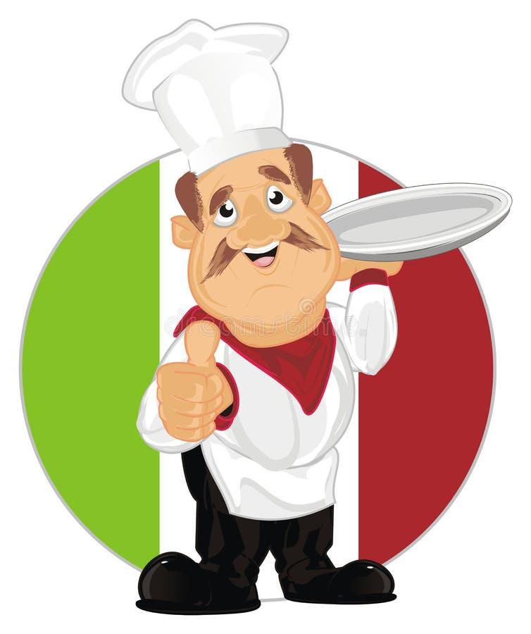 Comidas y cocinero de Italia ilustración del vector