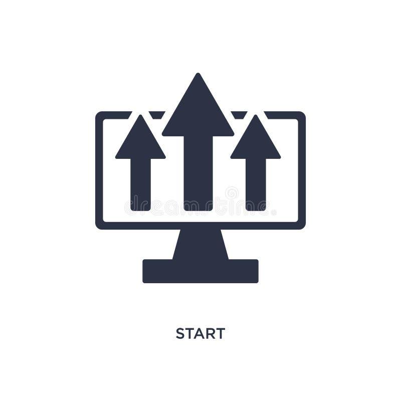 Comience el icono en el fondo blanco Ejemplo simple del elemento del concepto de la estrategia ilustración del vector