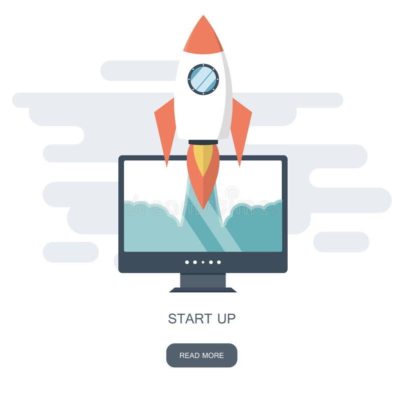 Comience para arriba el concepto del negocio para el desarrollo móvil del app u otras ideas digitales perturbadoras del negocio L libre illustration