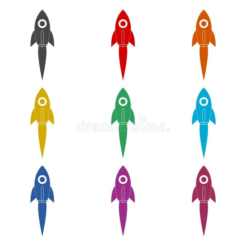 Comience para arriba el espacio Rocket Ship Sky, icono del transbordador espacial, iconos del símbolo del color fijados ilustración del vector