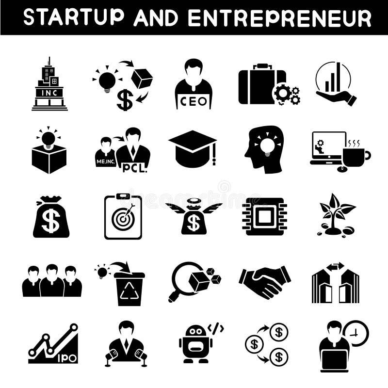 Comience para arriba los iconos del negocio ilustración del vector