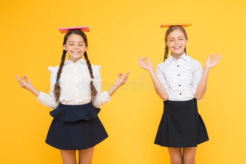 Comience a respirar De nuevo a escuela Compañeros de clase en la librería o la biblioteca meditaci?n las muchachas felices estudi foto de archivo libre de regalías
