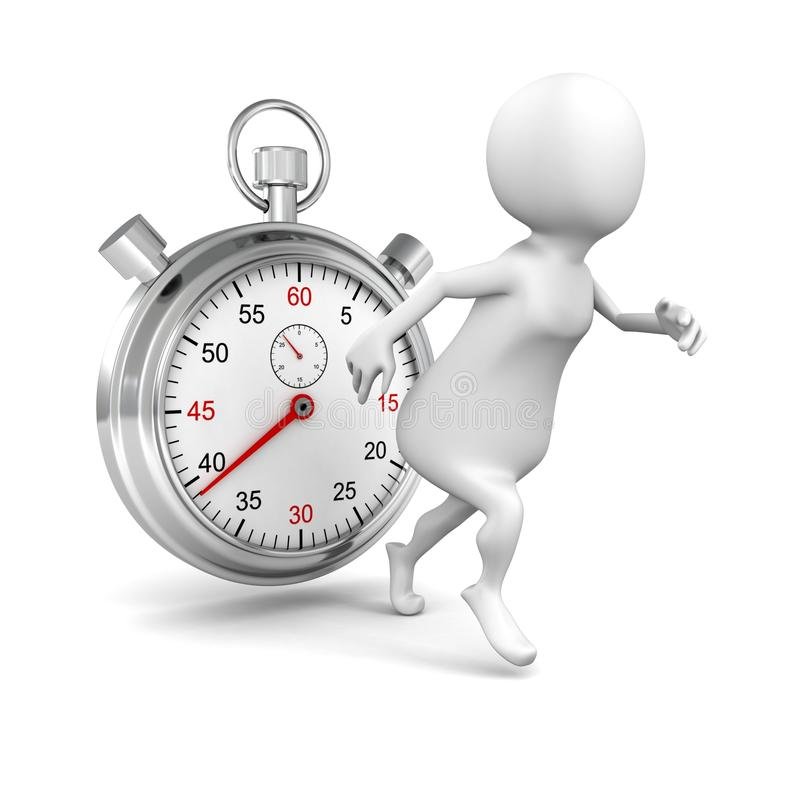 Comienzo blanco del hombre 3d que corre con el cronómetro grande ilustración del vector