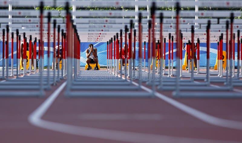 Comienzo Canadá del hombre de los obstáculos de la pista fotografía de archivo libre de regalías