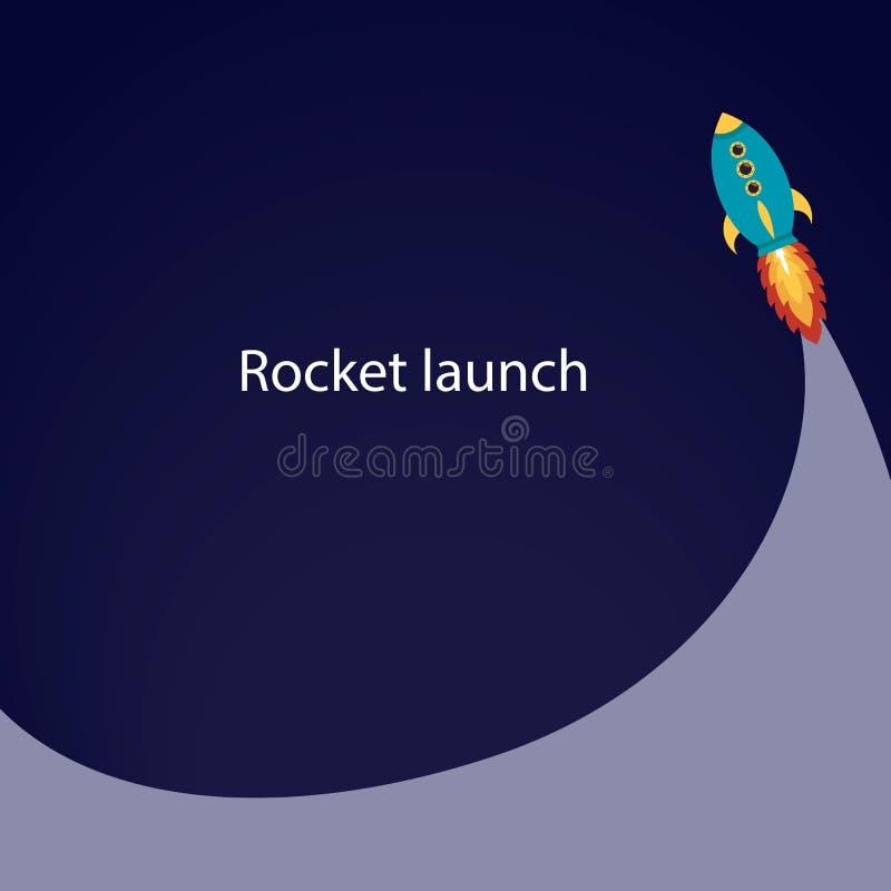 Comienzo de Rocket Lance la nave espacial en espacio Illustrat del vector libre illustration