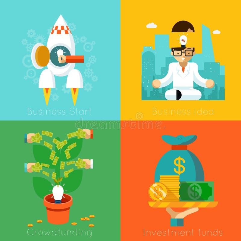 Comienzo del negocio Fondos de inversión, Crowdfunding ilustración del vector