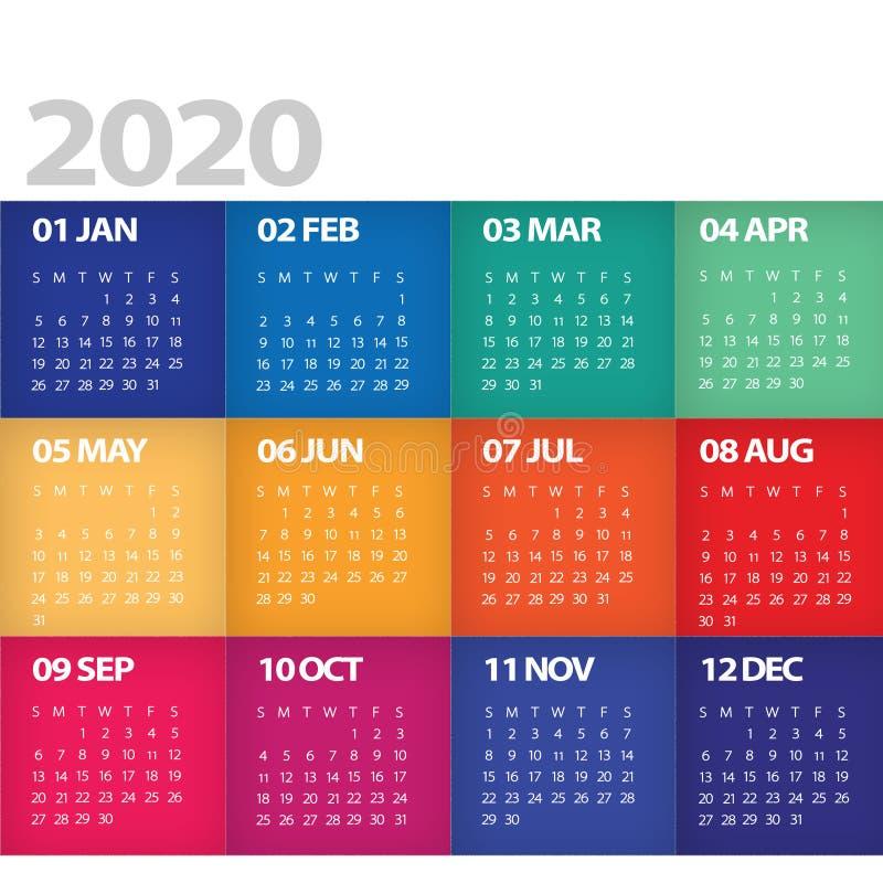 2020 comienzos del calendario en brillante colorido moderno de domingo stock de ilustración