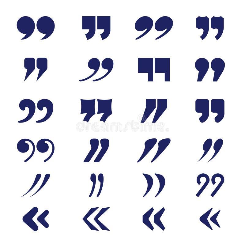 Comillas Colección de la tipografía del vector del texto de la puntuación del discurso ilustración del vector