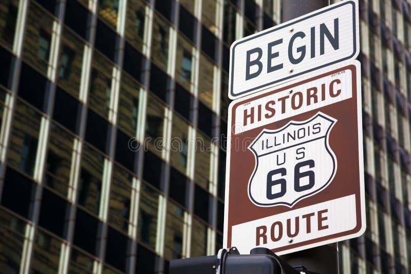 Cominci di Route 66 in Chicago fotografie stock libere da diritti