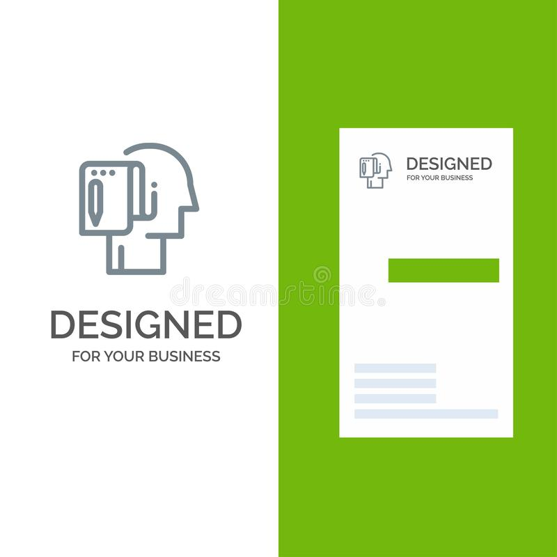 Cominci, parta dal graffio, dalla lista, dalla nota, dall'inizio Grey Logo Design e dal modello del biglietto da visita illustrazione vettoriale