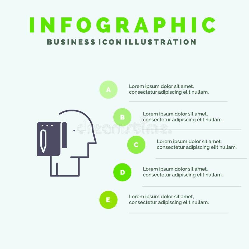 Cominci, parta dal graffio, la lista, la nota, fondo solido della presentazione di punti di Infographics 5 dell'icona di inizio illustrazione vettoriale