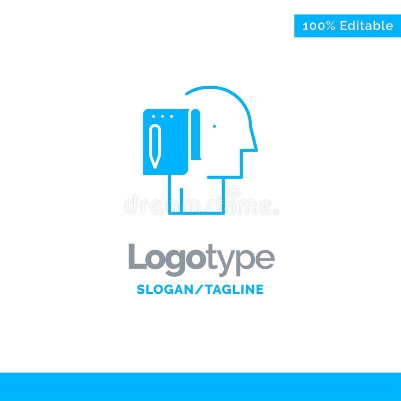 Cominci, parta dal graffio, la lista, la nota, l'inizio Logo Template solido blu Posto per il Tagline royalty illustrazione gratis