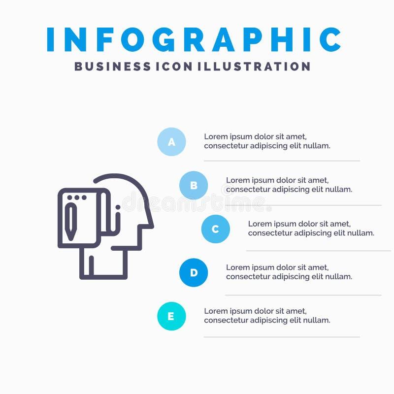 Cominci, parta dal graffio, la lista, la nota, la linea icona di inizio con il fondo di infographics della presentazione di 5 pun illustrazione di stock