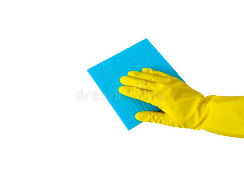Cominciare pulizia Guanti di gomma gialli per la pulizia sul fondo bianco Pulizia generale o regolare immagini stock libere da diritti