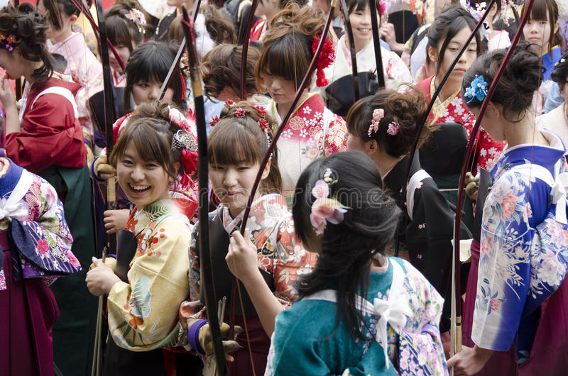 Coming of age day archery competition. At Sanjusangendo Temple in Kyoto, Japan. Toshiya festival stock images