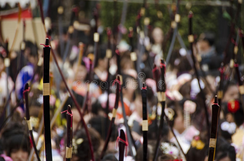 Coming of age day archery competition. At Sanjusangendo Temple in Kyoto, Japan. Toshiya festival stock photos