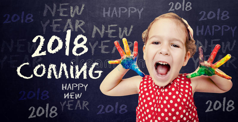 2018 coming concept. Happy child announcement New 2018 Year stock photo