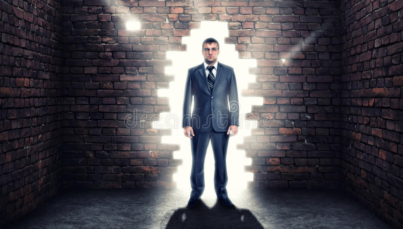 Coming confident businessman royalty free stock image