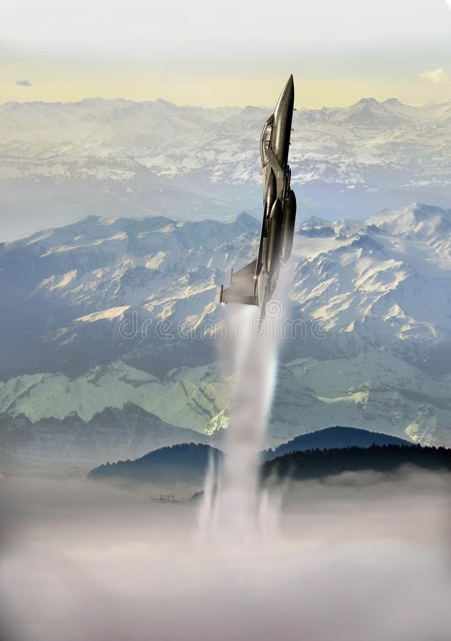 Coming out of clouds. Fighter coming out of the mist, at the foreground of high snowy mountains dominating smallest ones above the clouds covering the plain vector illustration