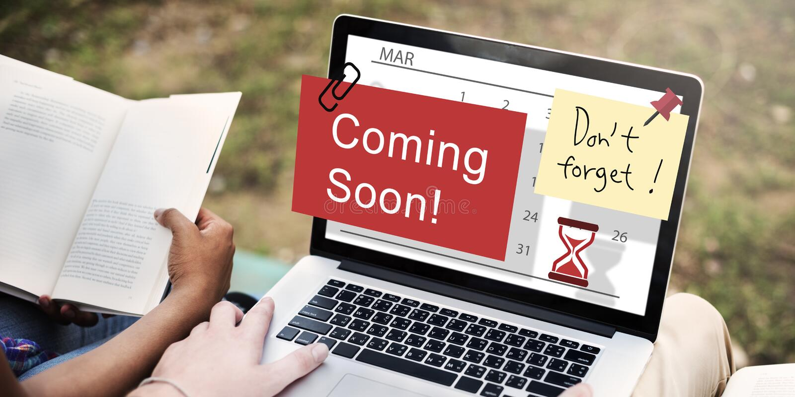 Coming Soon Advertising Annoucement Sign Concept. Laptop Technology Coming Soon Concept royalty free stock photography