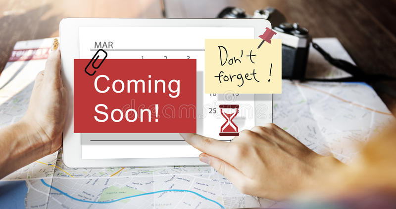 Coming Soon Advertising Announcement Sign Concept royalty free stock image