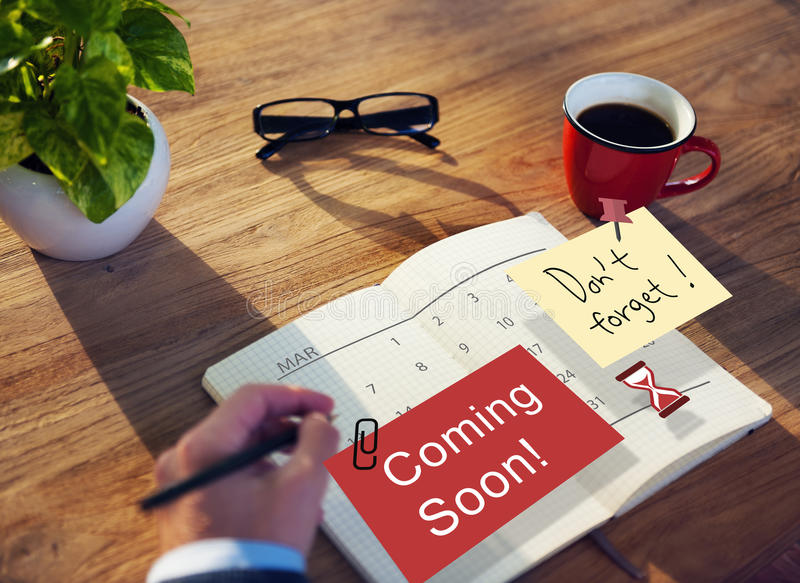Coming Soon Advertising Announcement Sign Concept royalty free stock photography