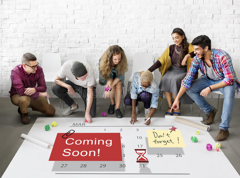 Coming Soon Advertising Announcement Sign Concept royalty free stock photo