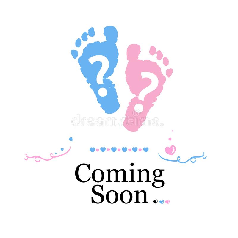 Coming soon baby. Baby gender reveal symbol. Girl, boy and twin baby symbol stock illustration