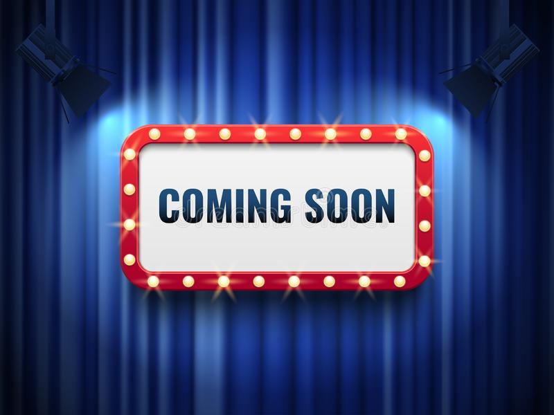 Coming soon background. special announcement concept with blue curtains, spotlights and light marquee sign. Vector. Coming soon background. special announcement royalty free illustration