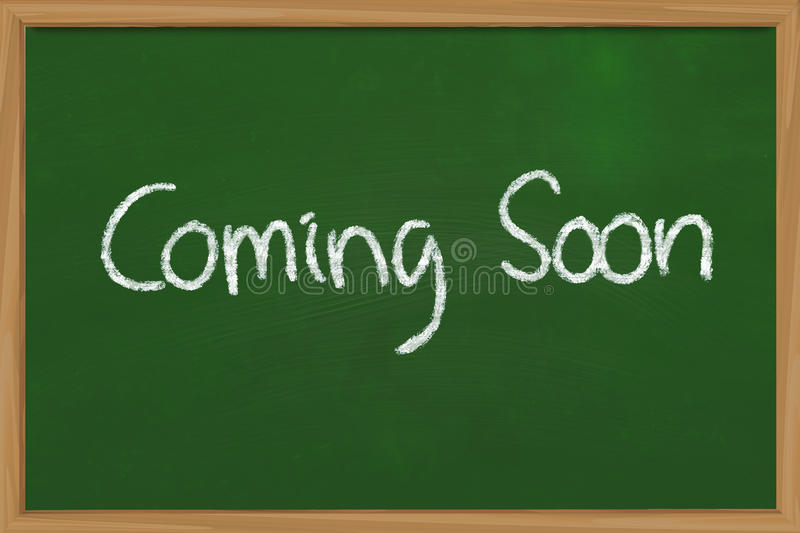 Coming Soon. Business concept the words Coming Soon written with chalk on green chalkboard stock images