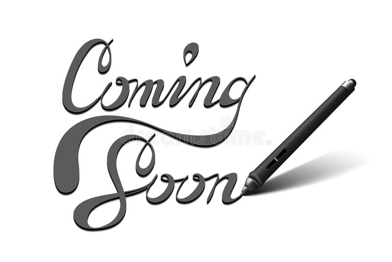 Coming Soon calligraphic lettering stock images