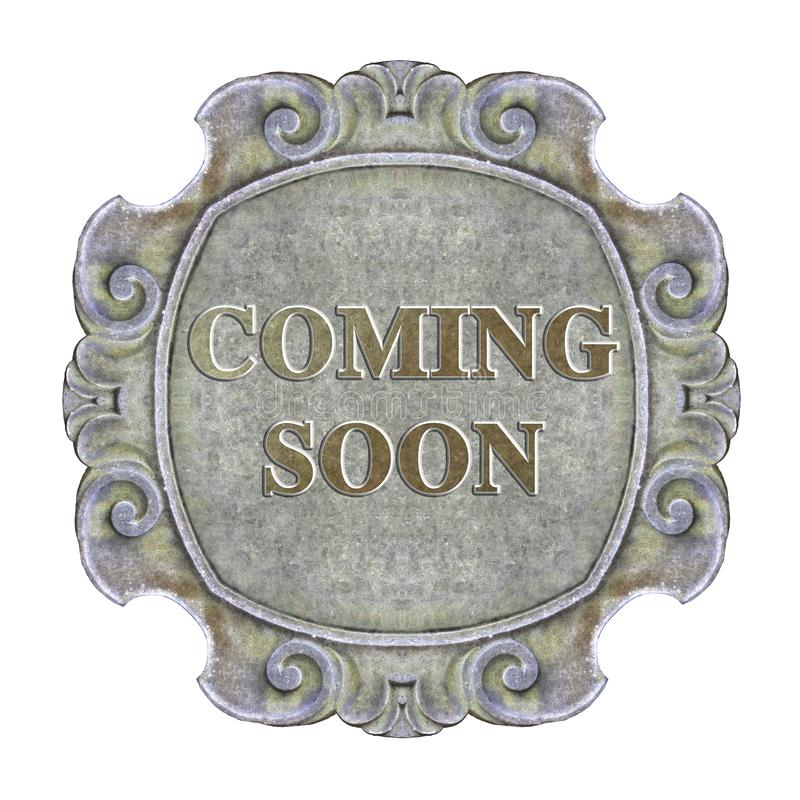 Coming Soon concept written on a old carved stone frame - concept image.  royalty free stock photo