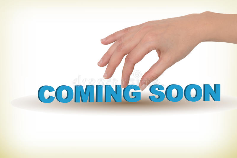 Coming soon. Female hand holding a 3d text coming soon royalty free illustration