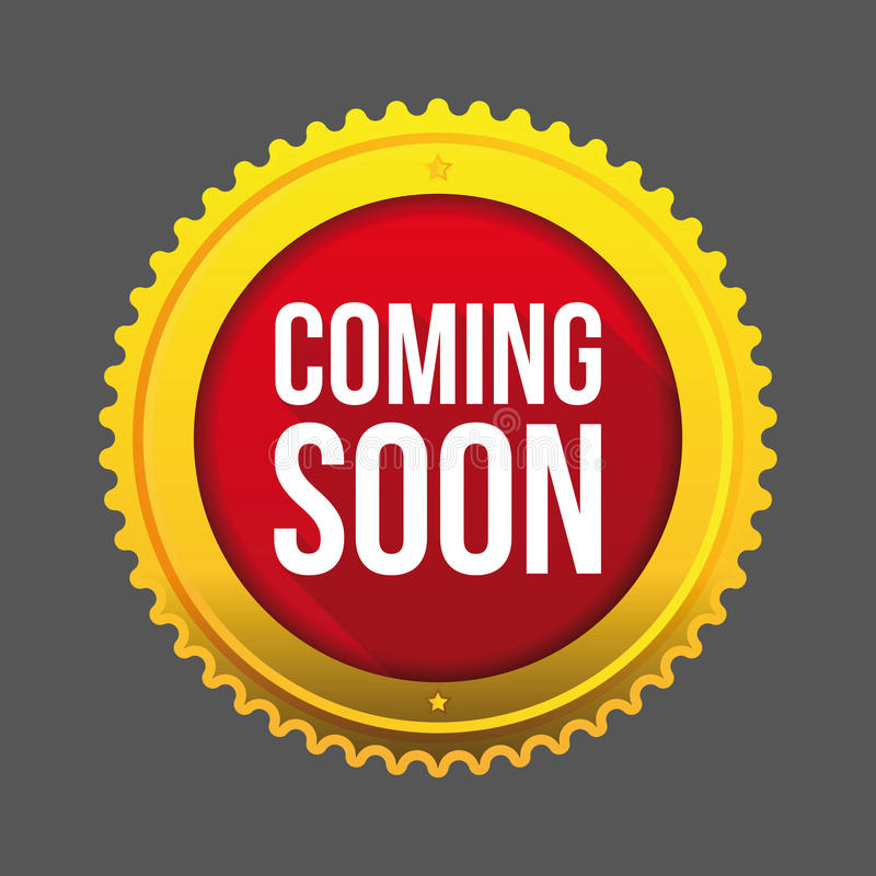 Coming Soon gold button. Vector stock illustration
