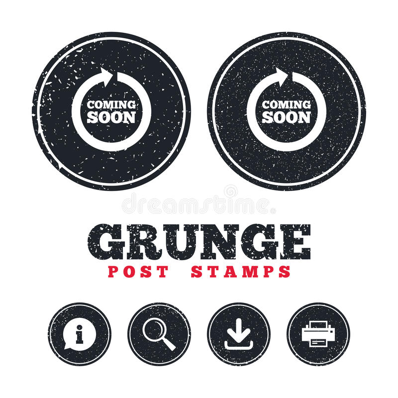 Coming soon icon. Promotion announcement symbol. Grunge post stamps. Coming soon sign icon. Promotion announcement symbol. Information, download and printer vector illustration