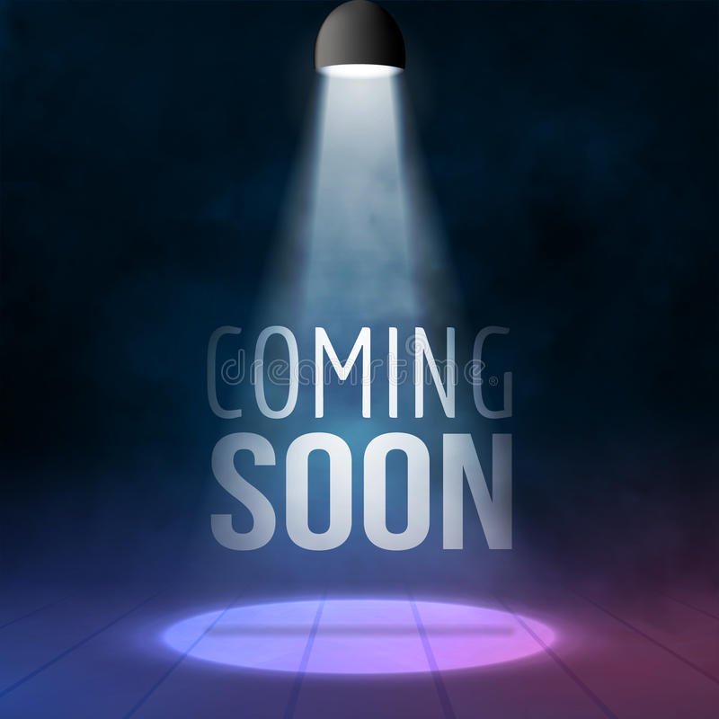 Coming soon illuminated with light projector blank stage realistic vector illustration. Sale market commerce concept royalty free illustration