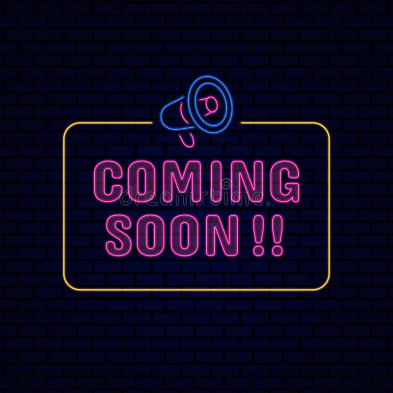 Coming soon information board sign poster Retro glowing neon light effect for night entertainment with megaphone icon vector stock illustration