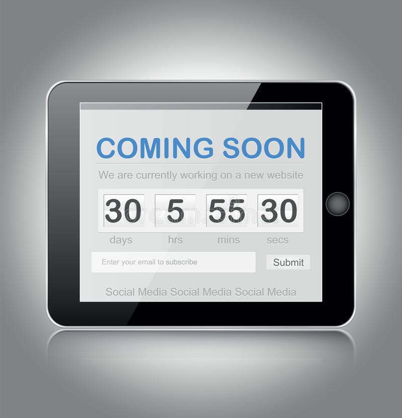 Coming soon page. Design on tablet stock illustration