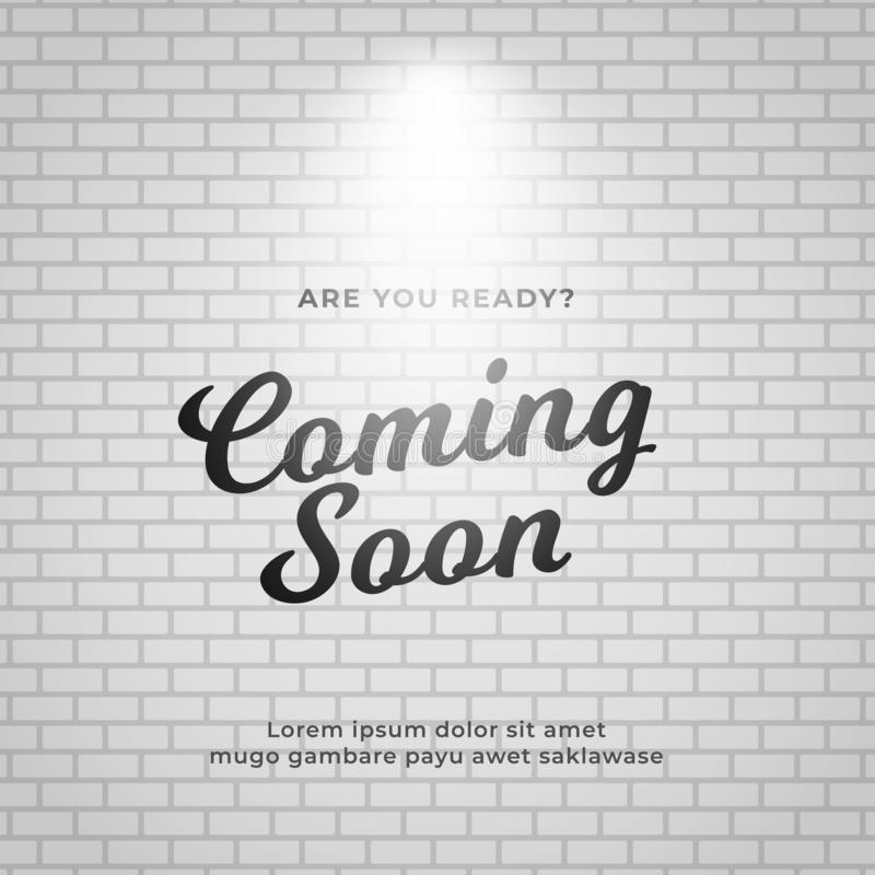 Coming soon poster background design. White brick wall backdrop vector illustration stock illustration